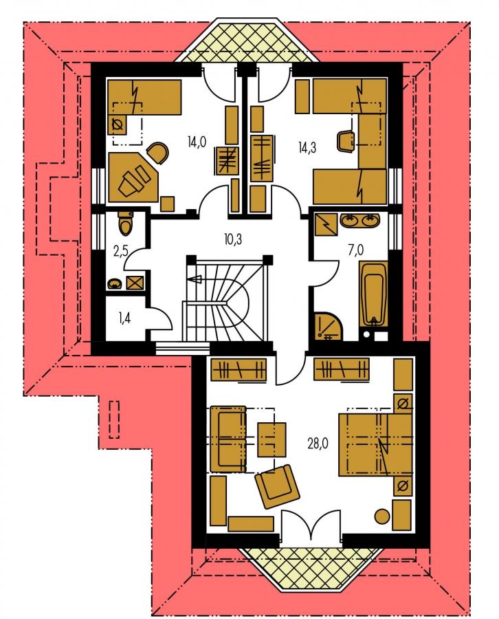 Pôdorys Poschodia - Projekt domu s veľkou spálňou a dvojgarážou.