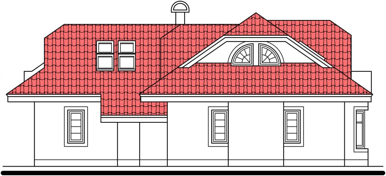 Pohľad 2. - Projekt domu s veľkou spálňou a dvojgarážou.