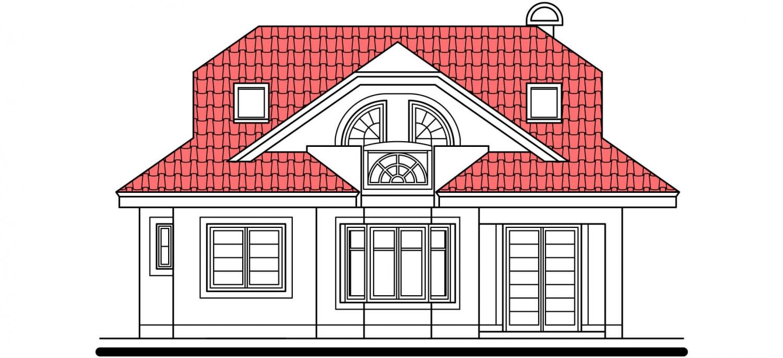 Pohľad 3. - Projekt domu s veľkou spálňou a dvojgarážou.