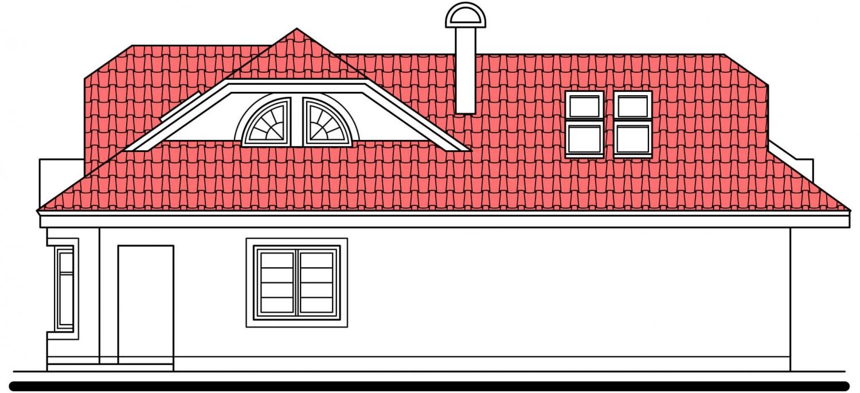 Pohľad 4. - Projekt domu s veľkou spálňou a dvojgarážou.