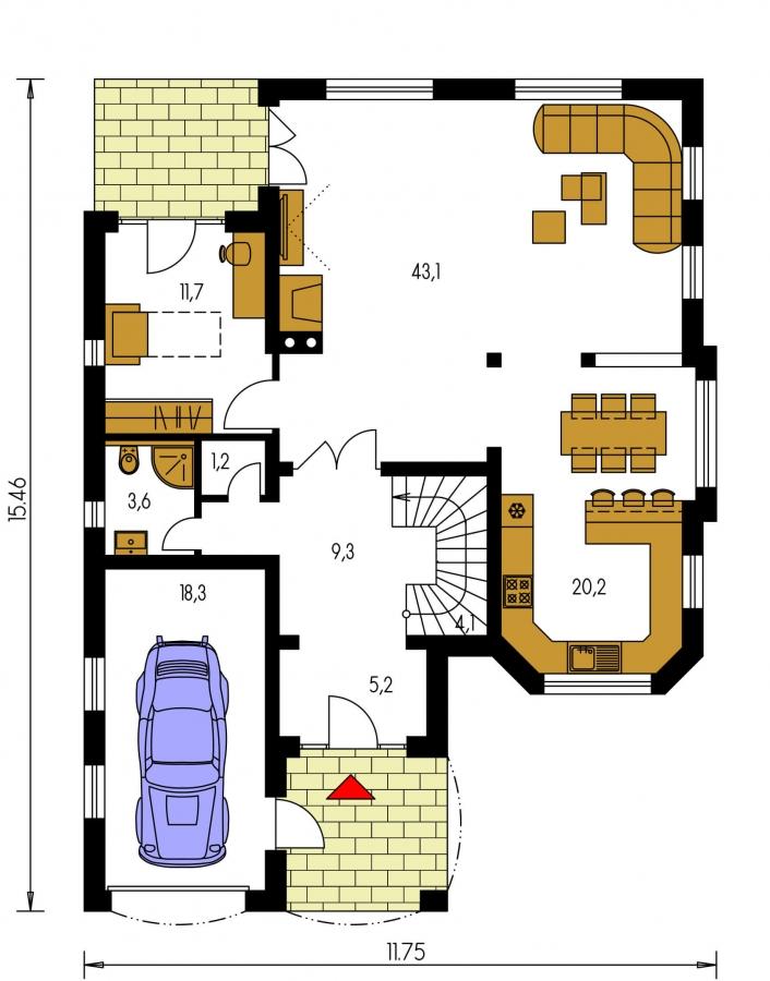 Pôdorys Prízemia - Rodinný dom so suterénom, veľkými izbami a garážou.
