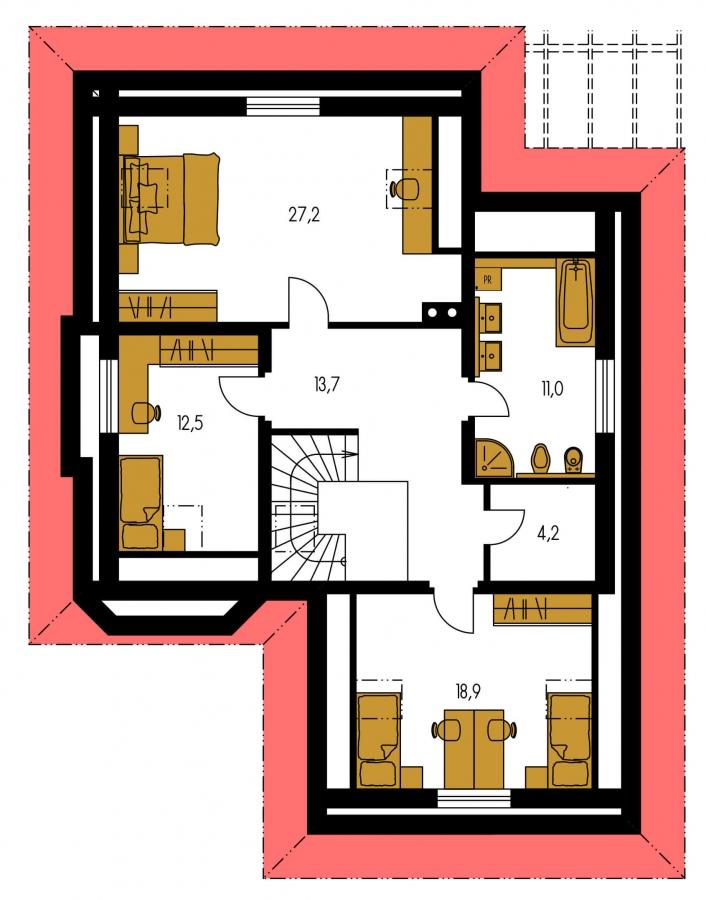 Pôdorys Poschodia - Rodinný dom so suterénom, veľkými izbami a garážou.