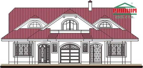 Pohľad 1. - Dom so suterénom, stredovou garážou, izbou na prízemí a s priestrannou obývačkou.