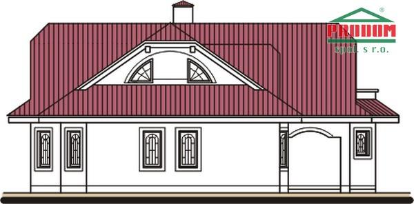 Pohľad 2. - Dom so suterénom, stredovou garážou, izbou na prízemí a s priestrannou obývačkou.