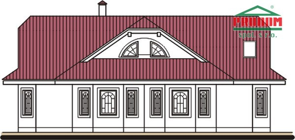 Pohľad 3. - Dom so suterénom, stredovou garážou, izbou na prízemí a s priestrannou obývačkou.