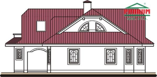 Pohľad 4. - Dom so suterénom, stredovou garážou, izbou na prízemí a s priestrannou obývačkou.