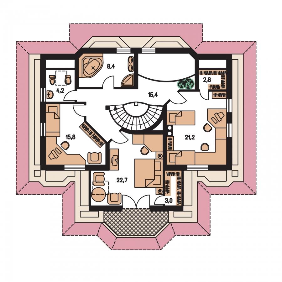 Pôdorys Poschodia - Dom so suterénom, stredovou garážou, izbou na prízemí a s priestrannou obývačkou.