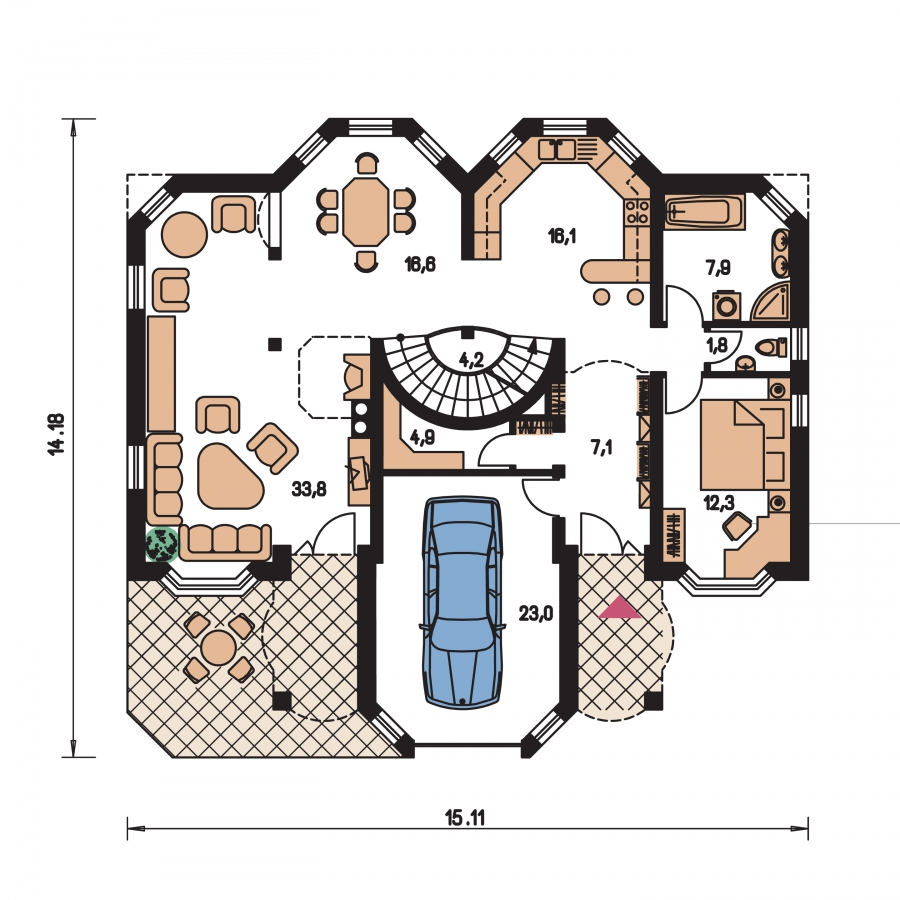 Pôdorys Prízemia - Dom so suterénom, stredovou garážou, izbou na prízemí a s priestrannou obývačkou.