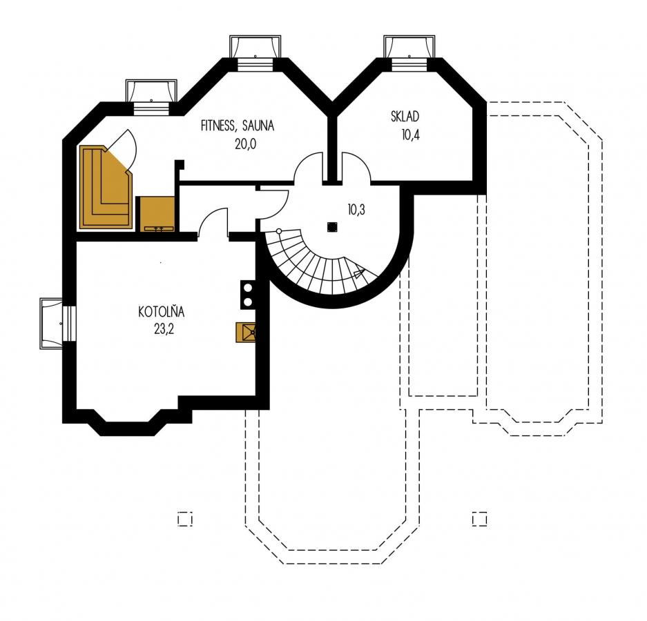 Pôdorys Suterénu - Dom so suterénom, stredovou garážou, izbou na prízemí a s priestrannou obývačkou.