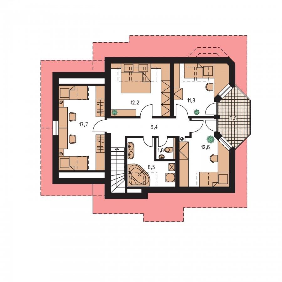 Pôdorys Poschodia - Klasický rodinný dom s garážou vhodný ako dvojdom