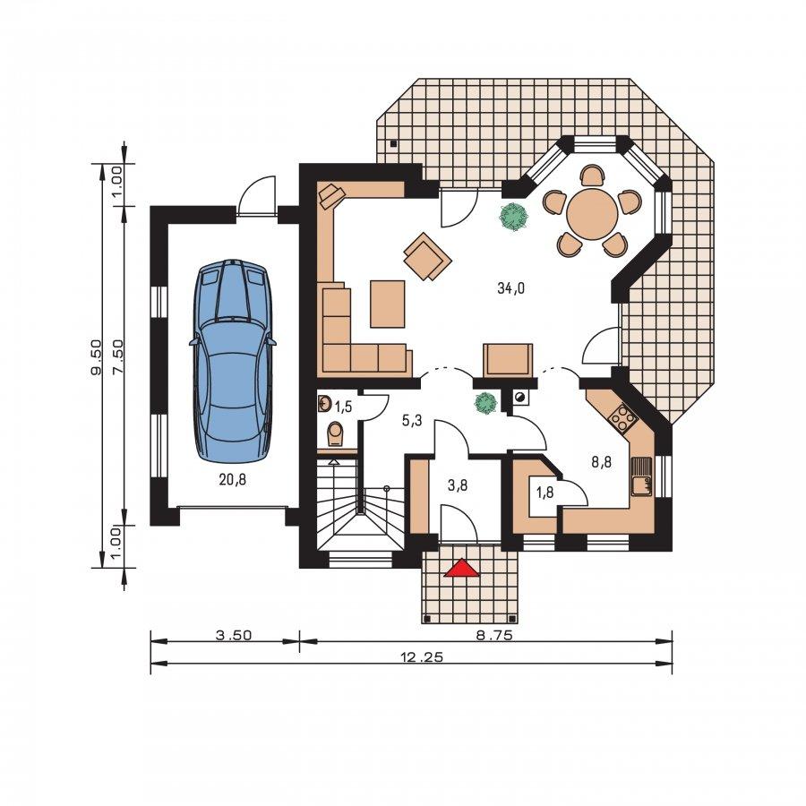 Pôdorys Prízemia - Klasický rodinný dom s garážou vhodný ako dvojdom