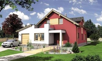 Moderný rodinný dom s garážou a terasou na poschodí