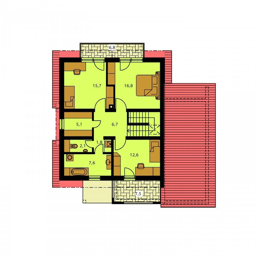 Pôdorys Poschodia - Moderný rodinný dom s garážou a terasou na poschodí