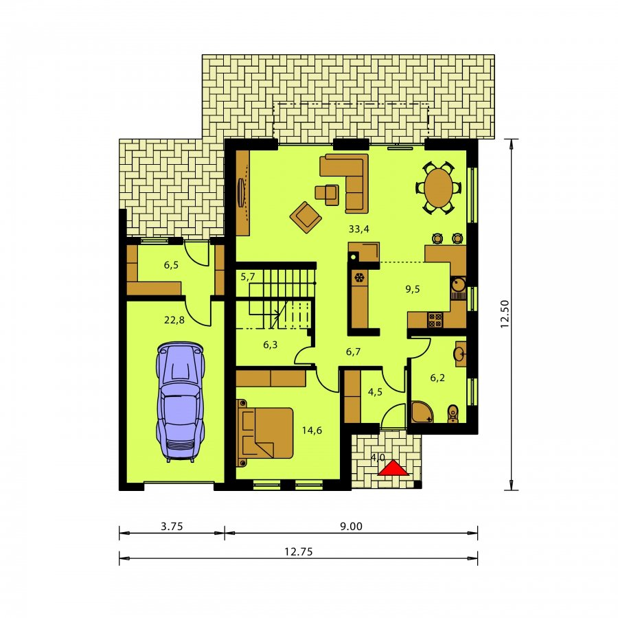 Pôdorys Prízemia - Moderný rodinný dom s garážou a terasou na poschodí