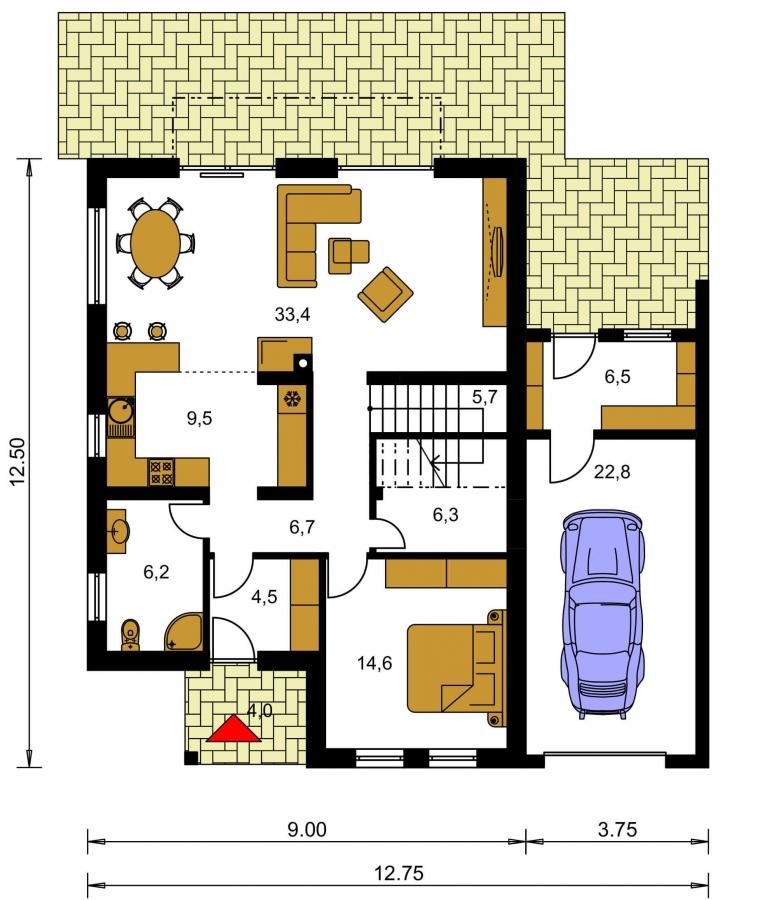 Pôdorys Prízemia - Moderný rodinný dom s garážou a terasou na poschodí.