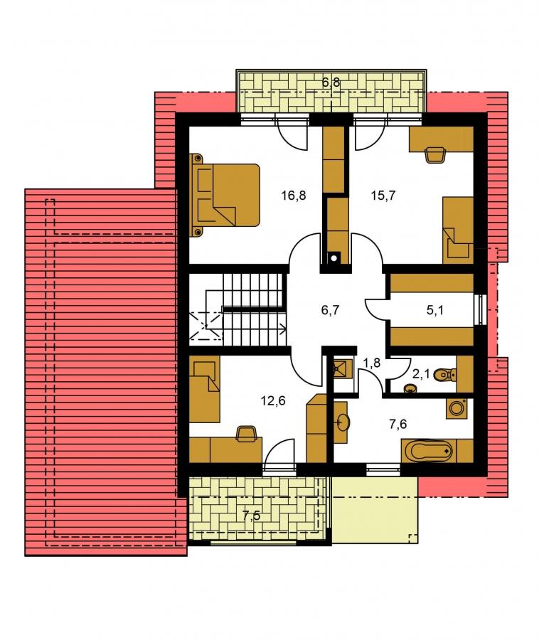 Pôdorys Poschodia - Moderný rodinný dom s garážou a terasou na poschodí.