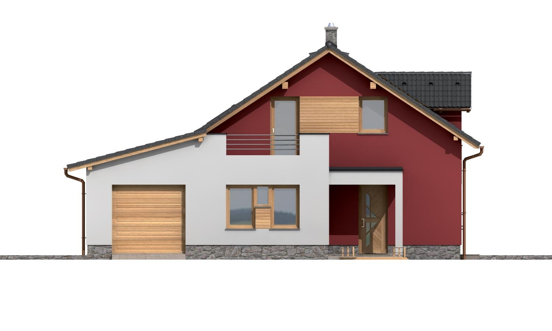Pohľad 1. - Moderný rodinný dom s garážou a terasou na poschodí.