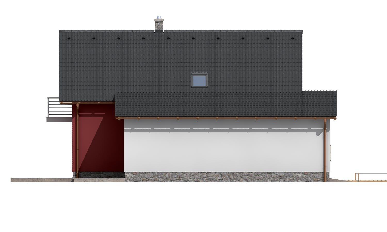 Pohľad 2. - Moderný rodinný dom s garážou a terasou na poschodí.