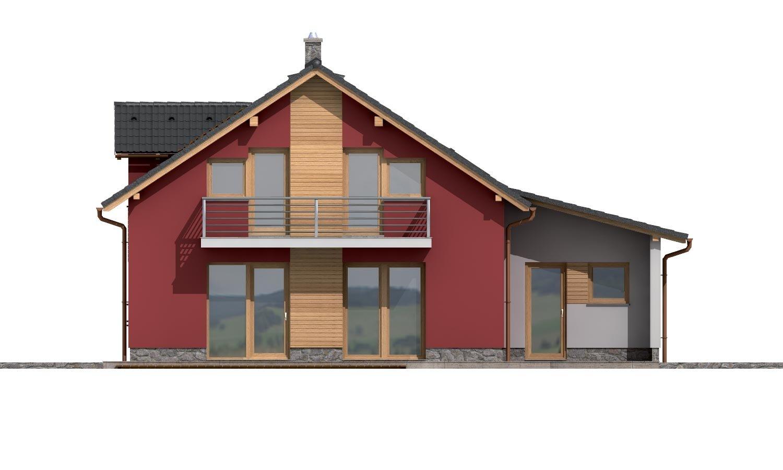 Pohľad 3. - Moderný rodinný dom s garážou a terasou na poschodí.