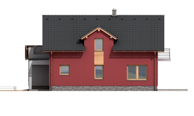 Pohľad 4. - Moderný rodinný dom s garážou a terasou na poschodí.