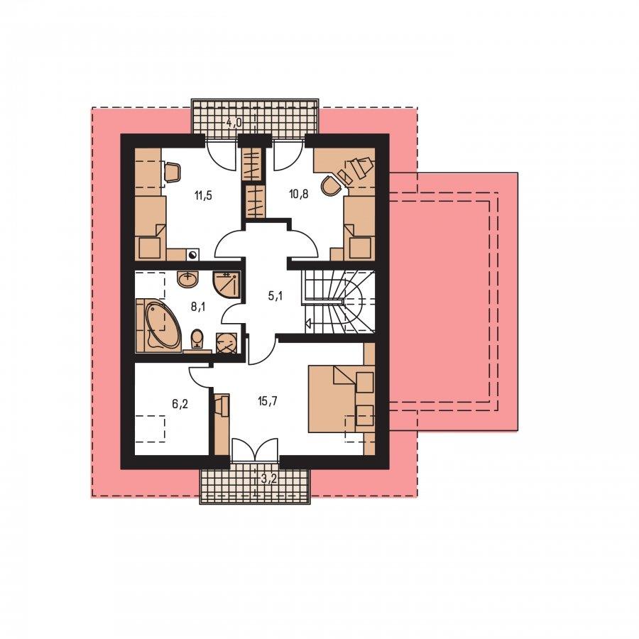 Pôdorys Poschodia - Úzky dom s garážou, vhodný ake chata alebo záhradný domček