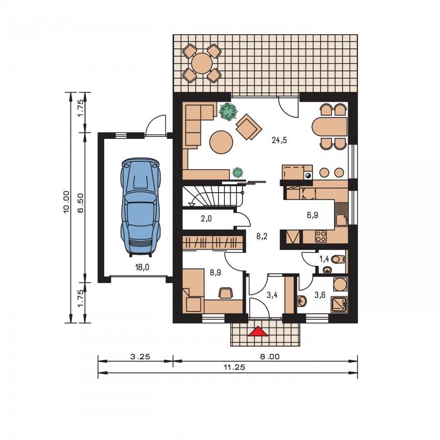 Pôdorys Prízemia - Úzky dom s garážou, vhodný ake chata alebo záhradný domček