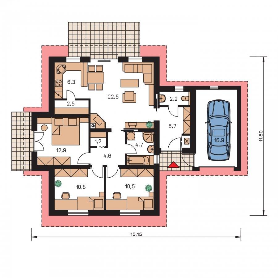 Pôdorys Prízemia - Prízemný domček vhodný ako dvojdom