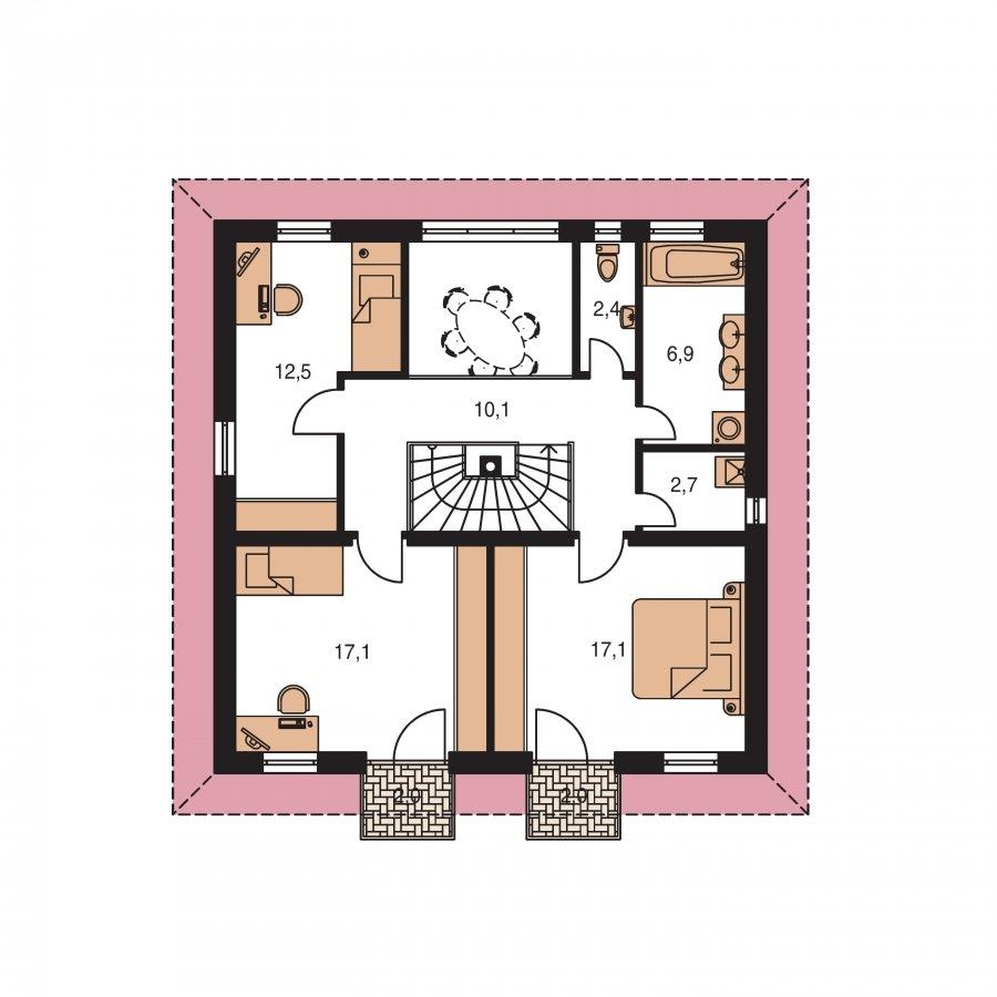 Pôdorys Poschodia - Klasický poschodový rodinný dom so stanovou strechou