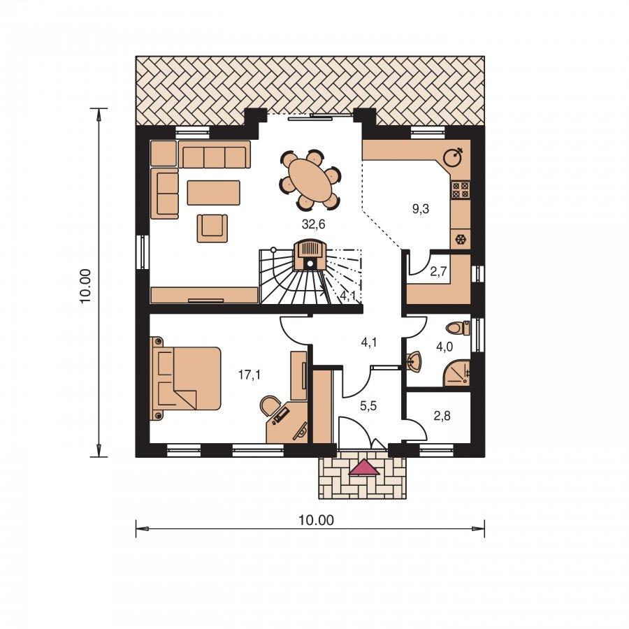 Pôdorys Prízemia - Klasický poschodový rodinný dom so stanovou strechou