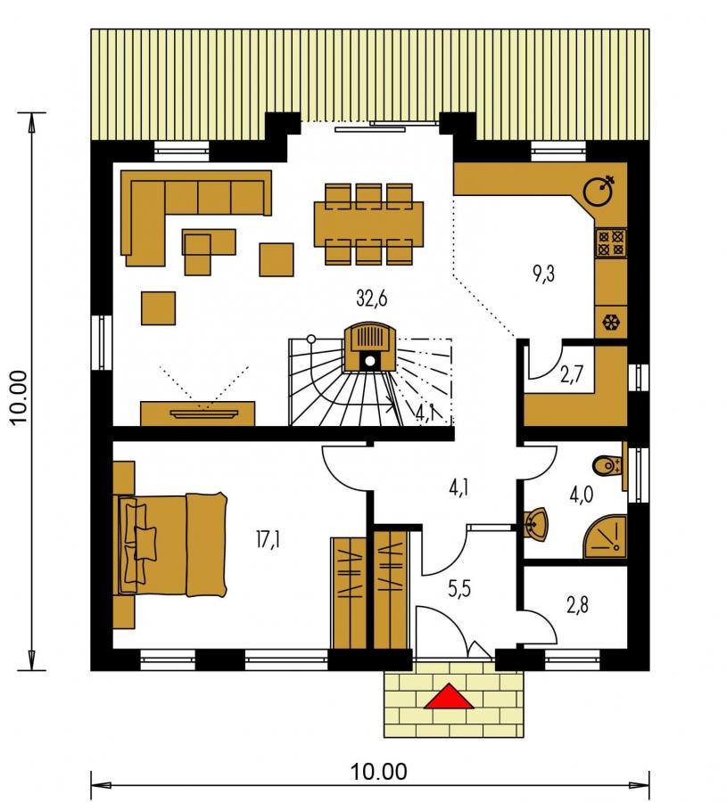 Pôdorys Prízemia - Klasický poschodový rodinný dom s galériou a izbou na prízemí.