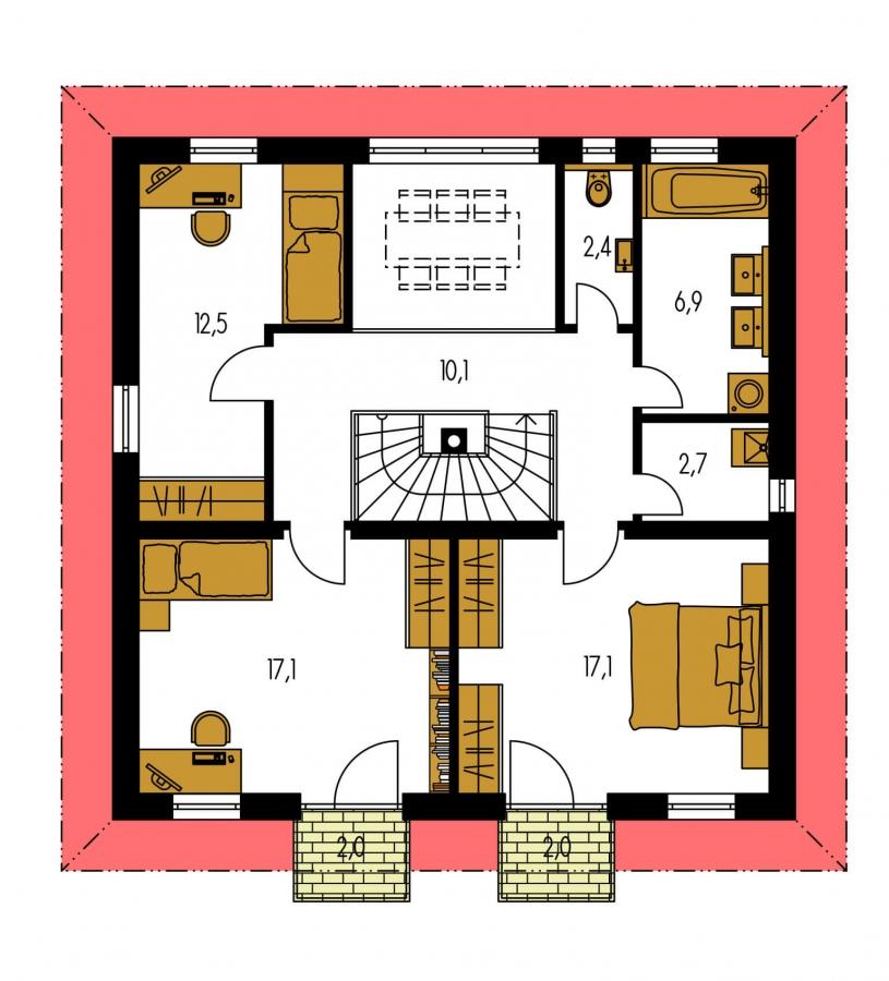 Pôdorys Poschodia - Klasický poschodový rodinný dom s galériou a izbou na prízemí.