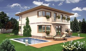 Moderný poschodový rodinný dom s rohovými oknami
