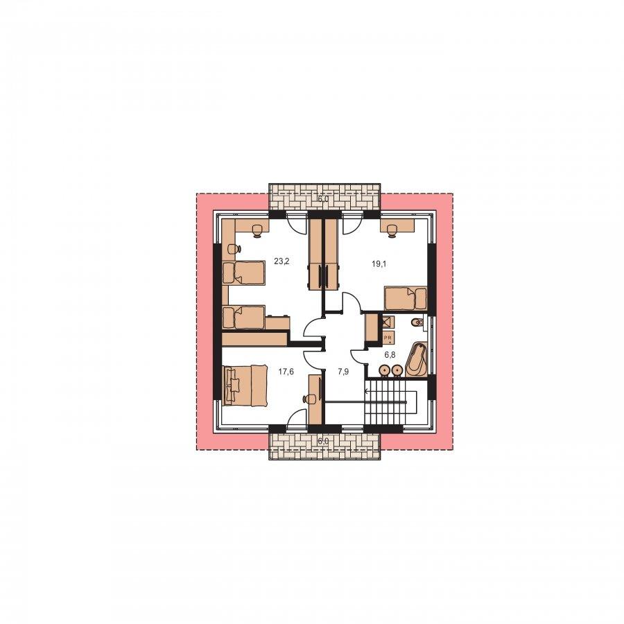 Pôdorys Poschodia - Moderný poschodový rodinný dom s rohovými oknami