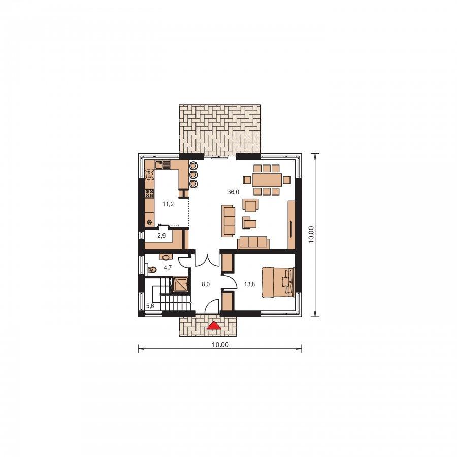 Pôdorys Prízemia - Moderný poschodový rodinný dom s rohovými oknami