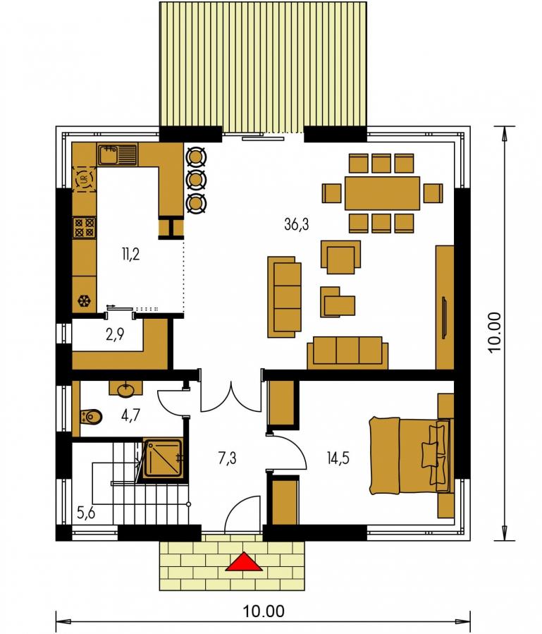 Pôdorys Prízemia - Moderný poschodový rodinný dom s rohovými oknami.