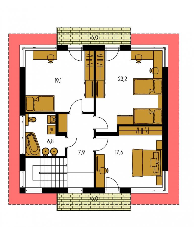 Pôdorys Poschodia - Moderný poschodový rodinný dom s rohovými oknami.