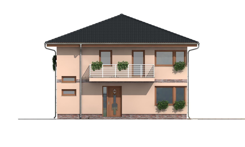Pohľad 1. - Moderný poschodový rodinný dom s rohovými oknami.