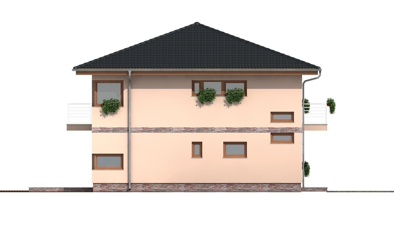 Pohľad 2. - Moderný poschodový rodinný dom s rohovými oknami.
