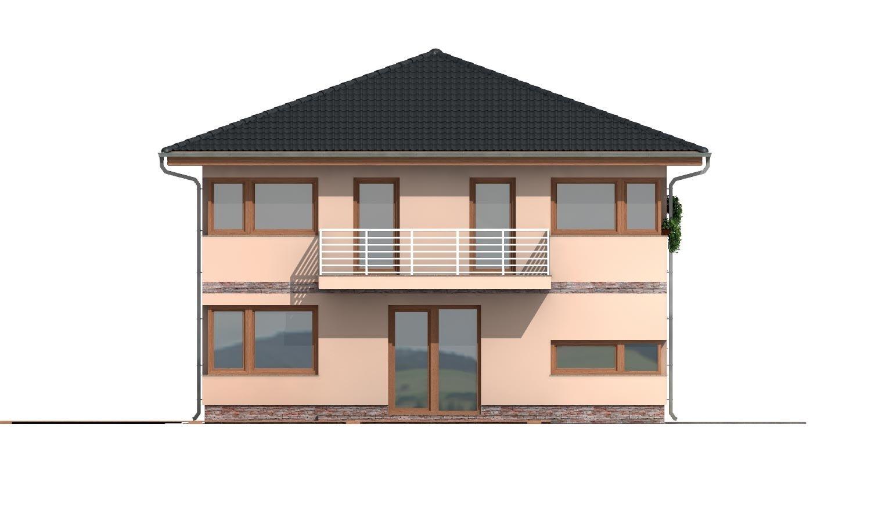 Pohľad 3. - Moderný poschodový rodinný dom s rohovými oknami.