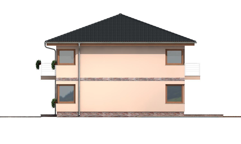 Pohľad 4. - Moderný poschodový rodinný dom s rohovými oknami.