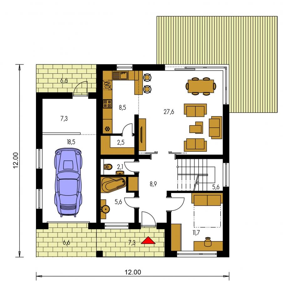 Pôdorys Prízemia - Moderný poschodový dom s garážou a obytnou terasou na poschodí.