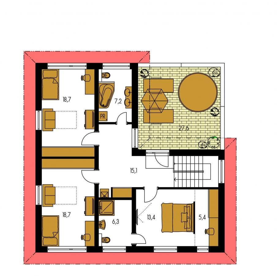 Pôdorys Poschodia - Moderný poschodový dom s garážou a obytnou terasou na poschodí.
