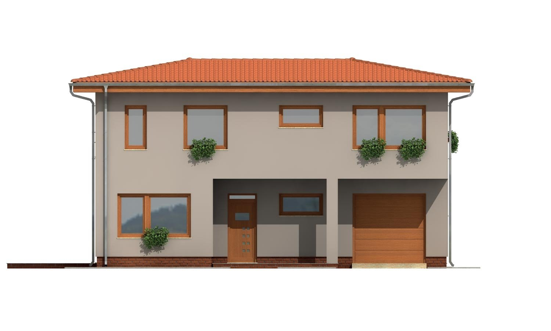 Pohľad 1. - Moderný poschodový dom s garážou a obytnou terasou na poschodí.