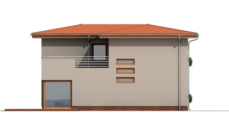Pohľad 2. - Moderný poschodový dom s garážou a obytnou terasou na poschodí.