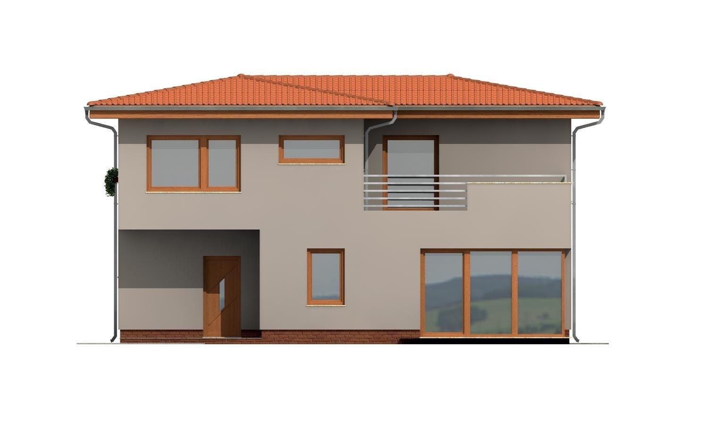 Pohľad 3. - Moderný poschodový dom s garážou a obytnou terasou na poschodí.