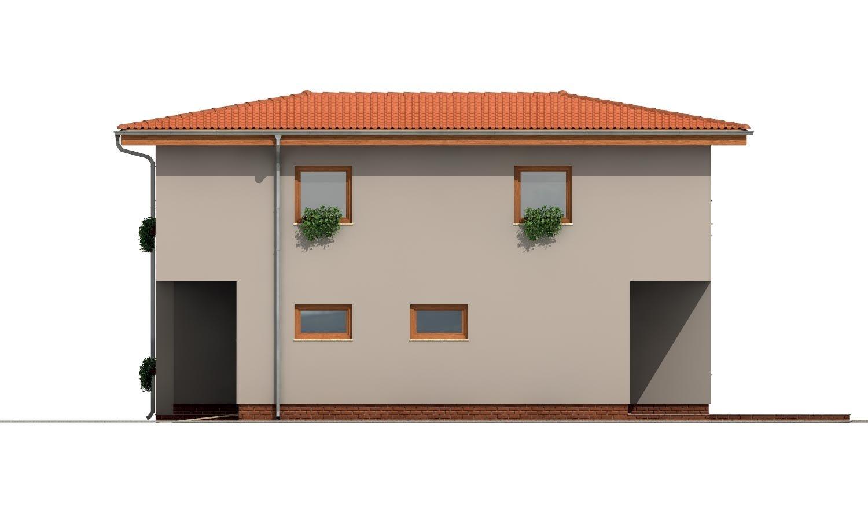 Pohľad 4. - Moderný poschodový dom s garážou a obytnou terasou na poschodí.