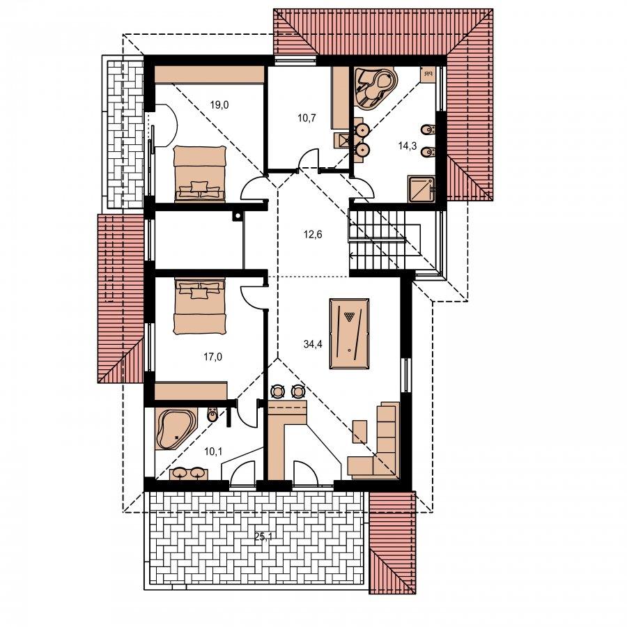 Pôdorys Poschodia - Dom pre náročných stavebníkov s dvojgarážou