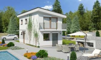 Dom na úzky pozemok s nízkou pultovou strechou, vhodný ako záhrabný domcek