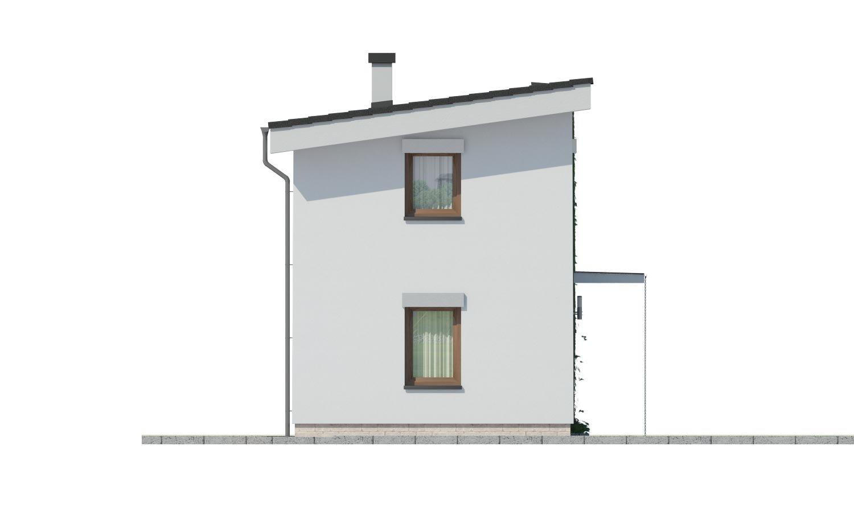 Pohľad 4. - Lacný dom na úzky pozemok s nízkou pultovou strechou, vhodný aj ako záhradný domček.
