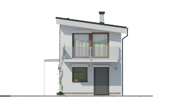 Pohľad 2. - Lacný dom na úzky pozemok s nízkou pultovou strechou, vhodný aj ako záhradný domček.
